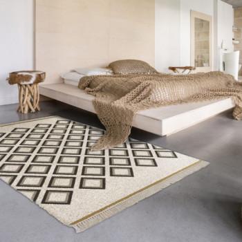 Tapis motif ethnique marron et blanc 200 x 290 cm