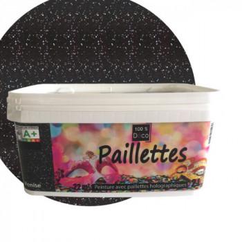 Peinture 100% Déco paillettes holographiques noir 2 L