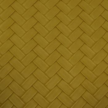 Tissu skaï moutarde effet tressé 140 cm