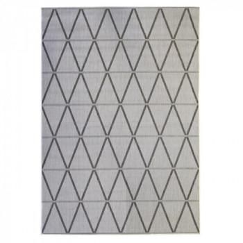 Tapis géométrique gris clair et noir 160 x 230 cm