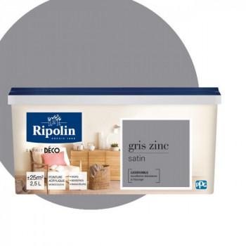 Peinture Ripolin Esprit Déco Murs, plafonds, boiseries et radiateurs gris zinc satin 2,5L