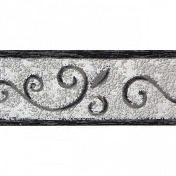 Bordure adhésive à motif gris argent