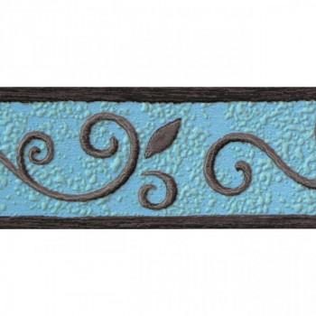 Bordure adhésive à motif turquoise gris