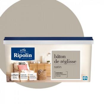 Peinture Ripolin Esprit Déco Murs, plafonds, boiseries et radiateurs baton de réglisse satin 2,5L