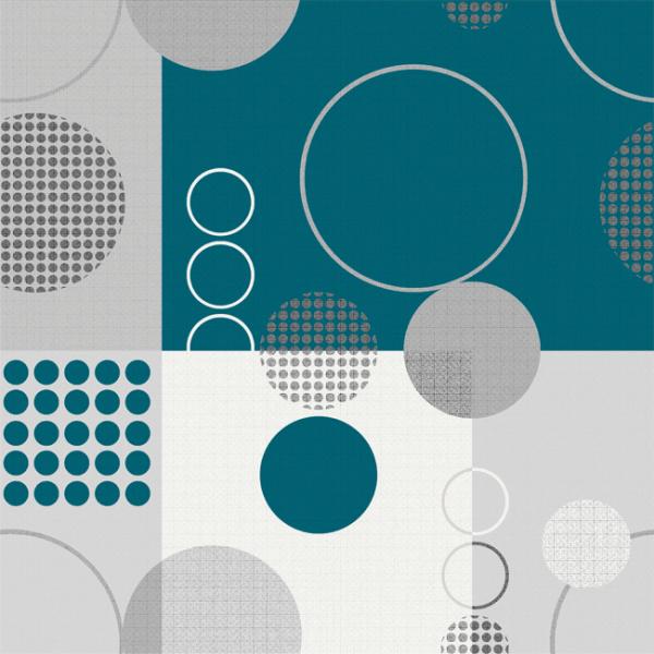 Toile cirée bleu motif géométrique...