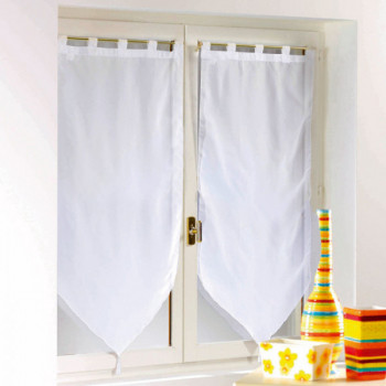 Vitrage pompon voile blanc 60 x 160 cm