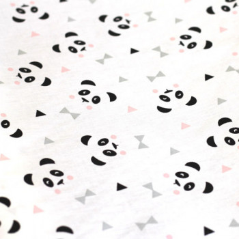 Tissu crétonne panda blanc 150 cm
