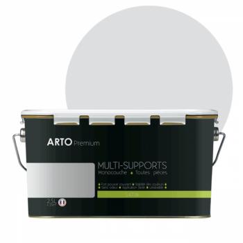 Peinture arto premium multi - supports murs, plafonds, boiseries, plinthes et radiateurs gris angora satin  2,5 L