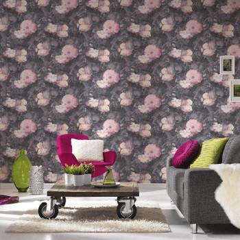 Papier peint intissé lessivable fleurs roses AS CREATION