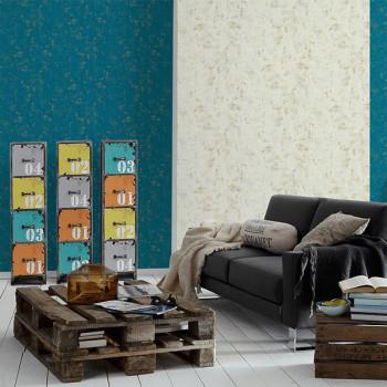 Papier peint intissé effet chiné bleu doré AS CREATION