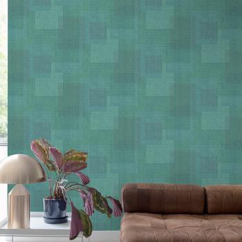 Papier peint intissé motif rectangle vert