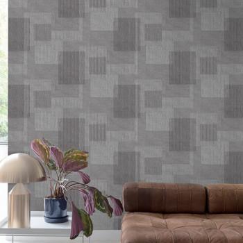 Papier peint intissé marron motif rectangle