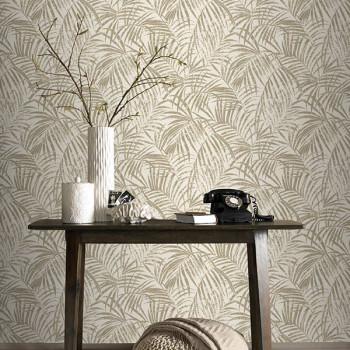 Papier peint intissé motif palmes dorées
