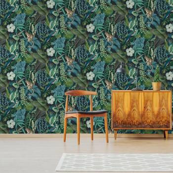 Papier peint intissé lessivable motif animalier jungle vert