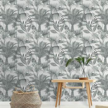Papier peint intissé lessivable motif jungle gris