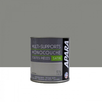 Peinture Apara multi-supports  Murs, plafonds, boiseries, plinthes...  gris étain satin 0,5L