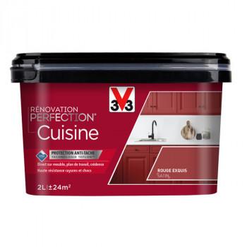 Peinture V33 rénovation cuisine rouge exquis satin 2L