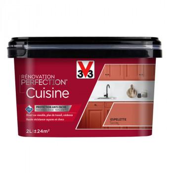 Peinture V33 rénovation cuisine espelette satin 2L