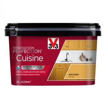 Peinture V33 rénovation cuisine moutarde satin 2L