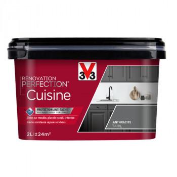 Peinture V33 rénovation cuisine gris anthracite satin 2L