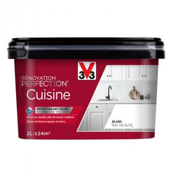 Peinture V33 rénovation cuisine blanc matifié satin 2L