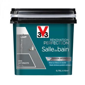 Peinture V33 rénovation salle de bain gris anthracite satin 0,75L