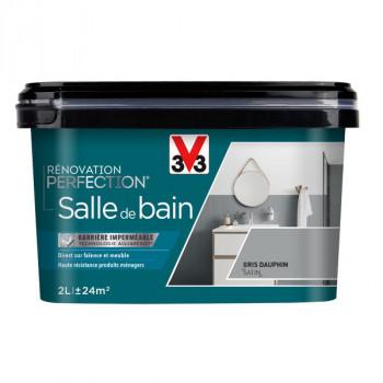 Peinture V33 rénovation salle de bain gris dauphin satin 2L