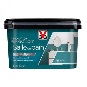 Peinture V33 rénovation salle de bain bleu lagon satin 2L