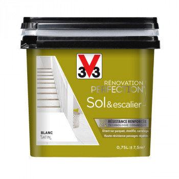 Peinture V33 Sol et escalier blanc satin 0,75 L
