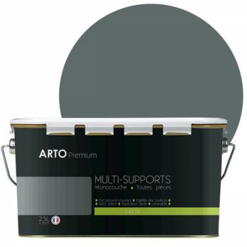 Peinture arto premium multi - supports murs, plafonds, boiseries, plinthes et radiateurs gris polaire satin 2,5 L