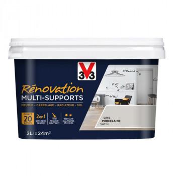 Peinture V33 rénovation multi-supports gris porcelaine satin 2L