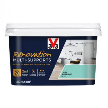 Peinture V33 rénovation multi-supports bleu nordique satin 2L