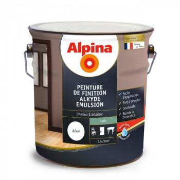 Peinture Alpina murs, plafonds, boiseries et radiateurs blanc laque satin 2,5L