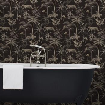 Papier peint intissé lessivable noir motif jungle