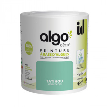 Peinture Algo multi-supports Murs, plafonds et boiseries vert Tatihou satin 0,5L