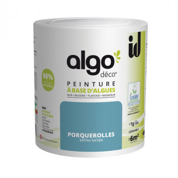 Peinture Algo multi-supports Murs, plafonds et boiseries bleu porquerolles satin 0,5L