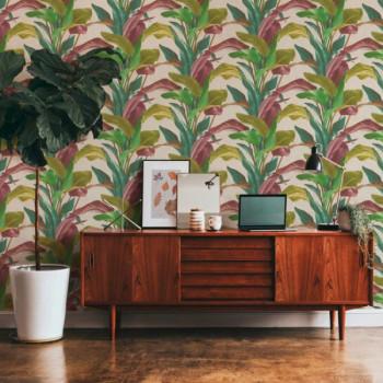 Papier peint intissé lessivable motif végétal vert AS CREATION Antonio Barcelona