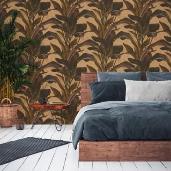 Papier peint intissé lessivable motif végétal kaki AS CREATION Antonio Barcelona