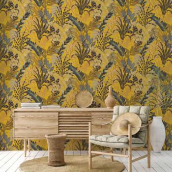 Papier peint intissé lessivable exotique jaune AS CREATION Nala Cape Town