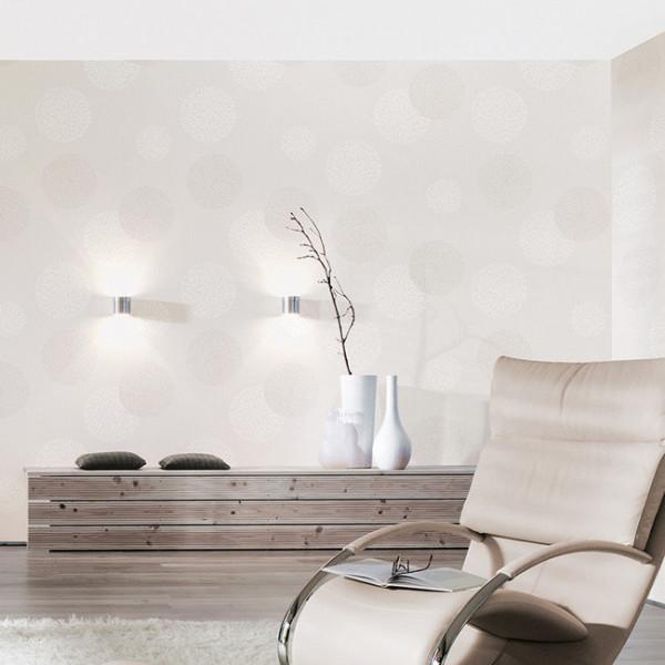 Papier peint intissé décoré bulles blanc