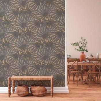 Papier peint intissé lessivable palme gris et doré AS CREATION Said Marrakech