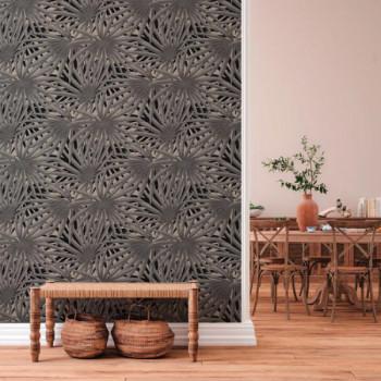 Papier peint intissé lessivable palme gris et noir AS CREATION Said Marrakech