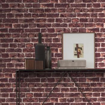 Papier peint intissé imitation mur de briques rouge