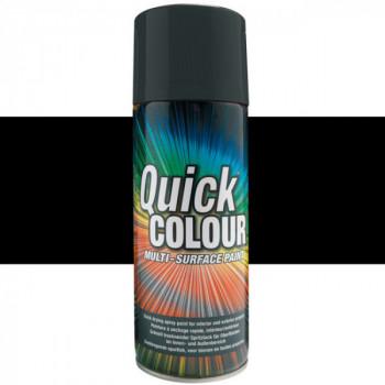 Peinture Quick Color aérosol multi-supports noir satin 400 ML
