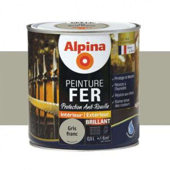 Peinture alpina antirouille spéciale fer gris franc brillant 0,5L