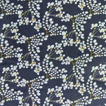 Tissu coton bleu nuit imprimé floral 150 cm