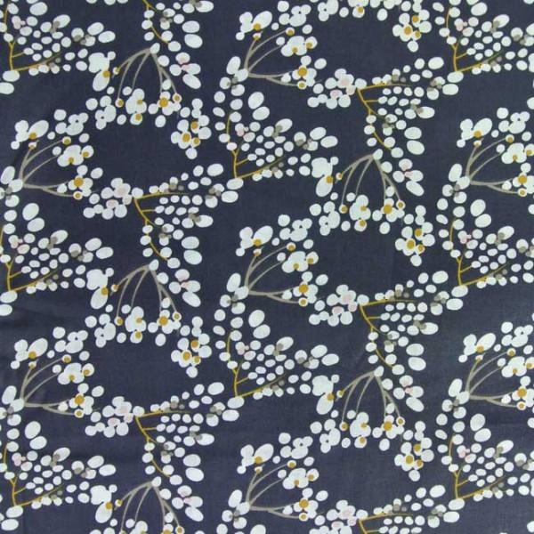 Tissu coton bleu nuit imprimé floral...