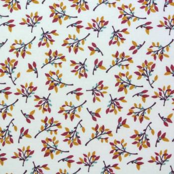 Tissu coton imprimé petit feuillage 150 cm