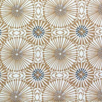 Tissu coton imprimé rosaces dorées 150 cm