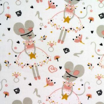Tissu coton imprimé princesse souris 150 cm